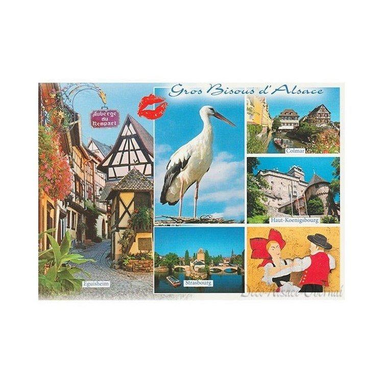 Retrouvez Carte Postale Cigogne Gros Bisous d'Alsace à Obernai