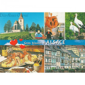 Postcard decorations and Big Kisses from Alsace