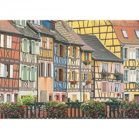 Colorful house of alsace postcard