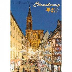 Postkarte Weihnachtsbeleuchtung Kathedrale von Straßburg