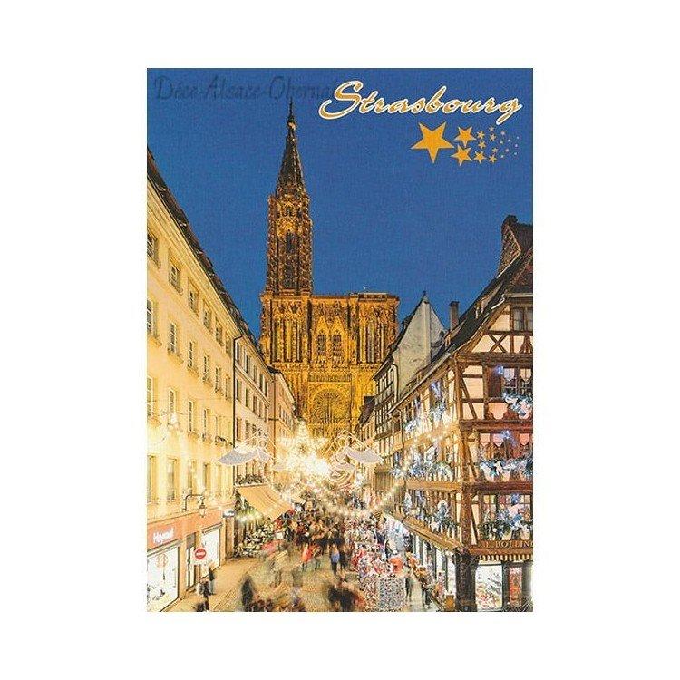 Retrouvez Carte Postale Cathédrale de Strasbourg illumination de Noël à Obernai