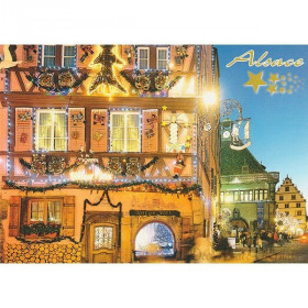 Postcard Alsatian houses decorated and illuminated Strasbourg