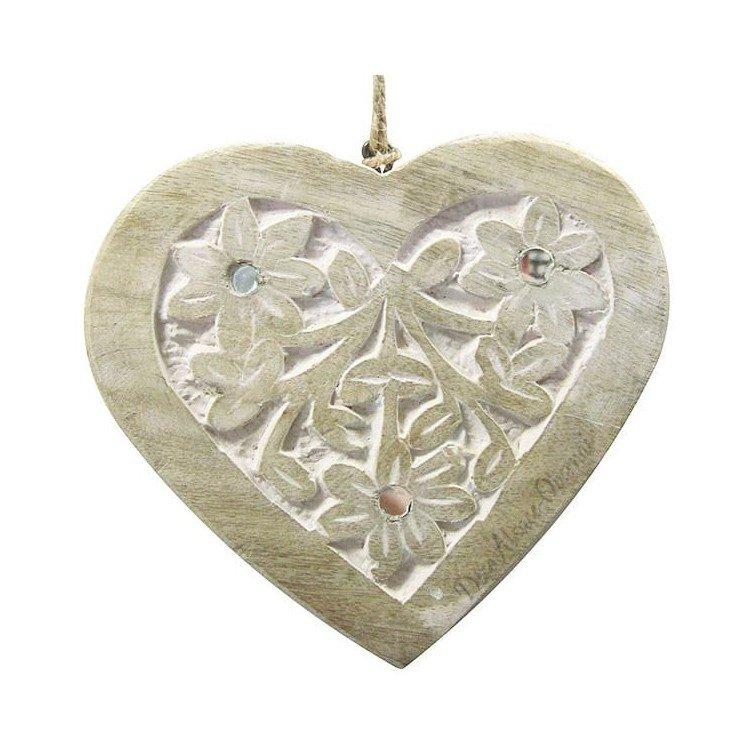 Découvrez Coeur en Bois Massif sculpté sur fond blanc décoré de miroirs au Magasin La Boite aux Trésors à Obernai