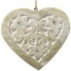 Coeur en Bois Massif sculpté sur fond blanc décoré de miroirs