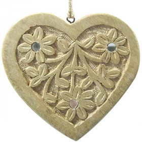 Heart in solid wood carved decorated with mirrors