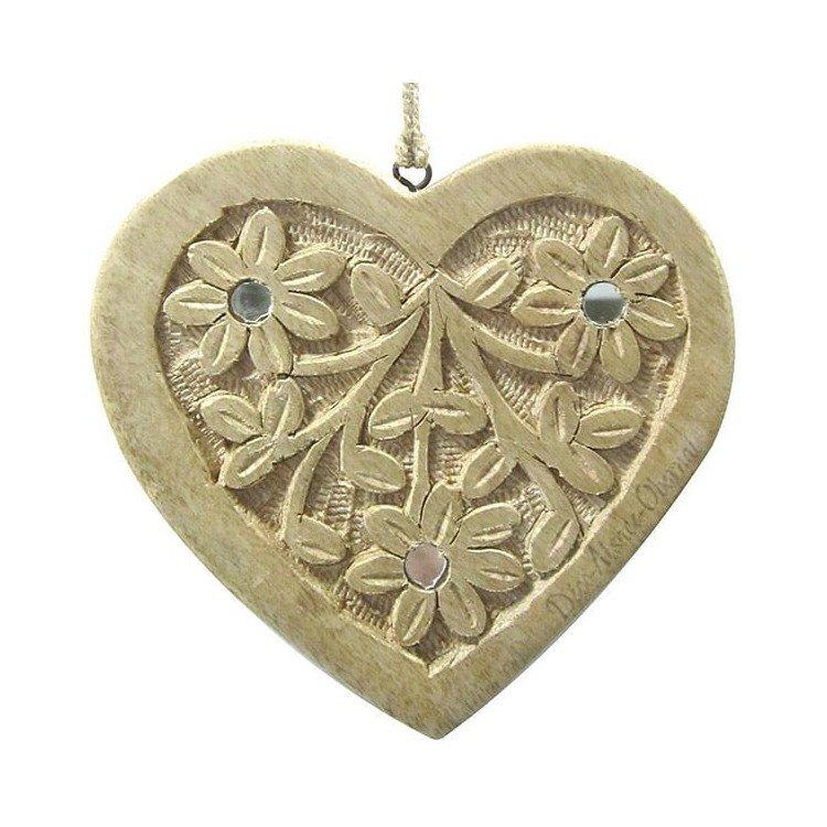 Découvrez Coeur en Bois Massif sculpté décoré de miroirs au Magasin La Boite aux Trésors à Obernai