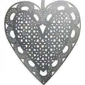 Coeur d'Alsace en Métal Gris découpé laser effet fine Dentelles