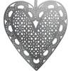 Elsass Grey Metal Heart lasergeschnittene Schnürsenkel mit feinem Effekt