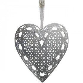 Elsass Grey Metal Heart lasergeschnittene Schnürsenkel mit feinem Effekt in La