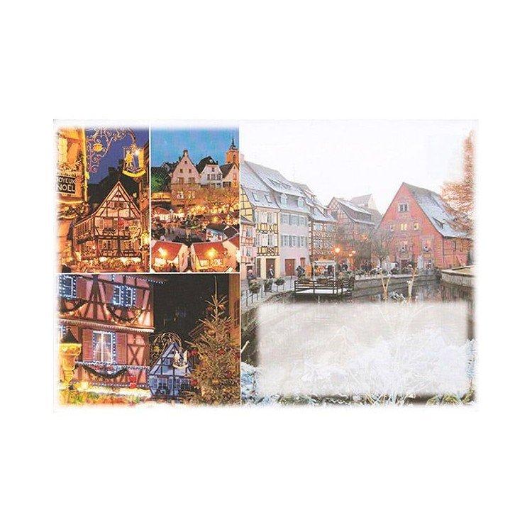 Découvrez Enveloppe décoré Marché de Noël et Maisons illuminés d'Alsace au Magasin La Boite aux Trésors à Obernai