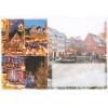 Umschlag dekoriert Weihnachtsmarkt und beleuchtete Häuser von Elsass