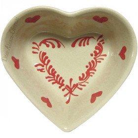 Coupelle Coeur de Soufflenheim Taupe décor Coeur Rouge