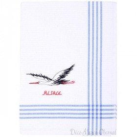 Alsatian Stork Embroidered Honeycomb Kitchen Towel