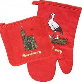 Lot de Gant et Manique de Cuisine rouge décor Cathédrale de Strasbourg