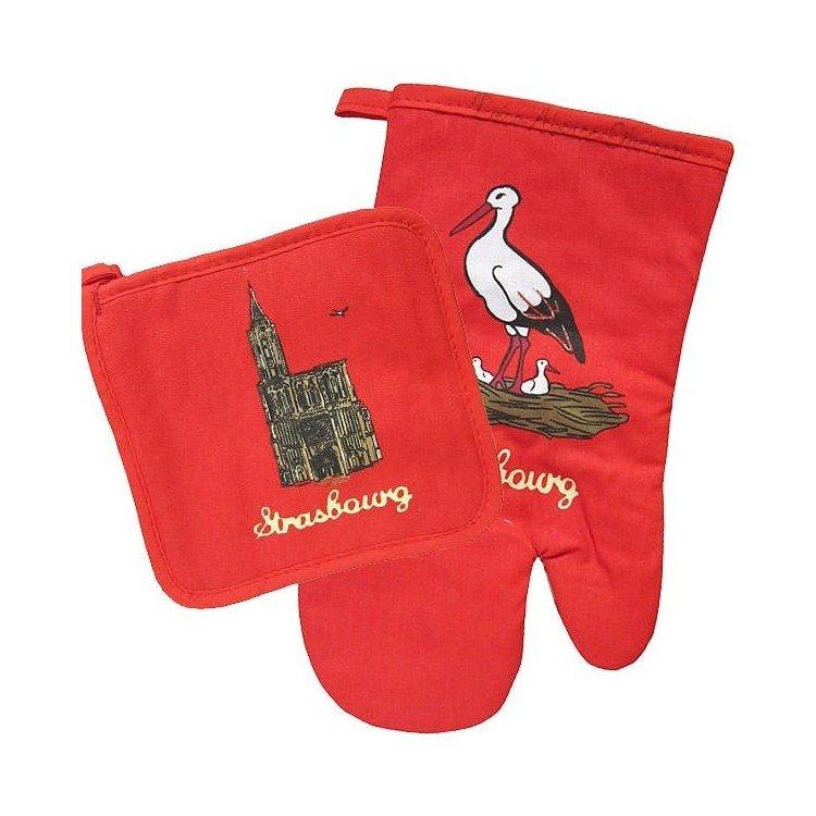 Retrouvez Lot de Gant et Manique de Cuisine rouge décor Cathédrale de Strasbourg à Obernai