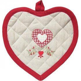 Manique de Cuisine Coeur brodé Fleurs et Coeur