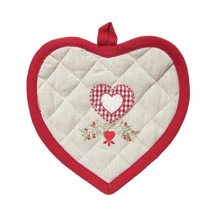 Découvrez Manique de Cuisine Coeur brodé Fleurs et Coeur au Magasin La Boite aux Trésors à Obernai