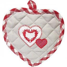 Manique de Cuisine Coeur et rayures rouge Keslch