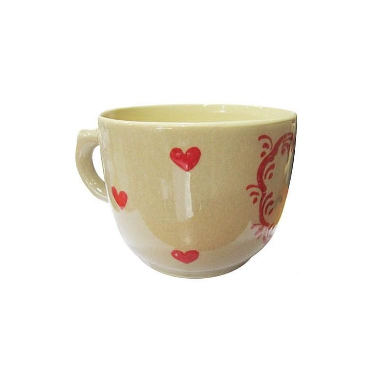 Retrouvez Bol à Déjeuner de Soufflenheim couleur Taupe décors Coeur Rouge à Obernai