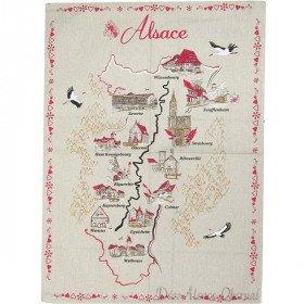 Torchon de Cuisine avec Carte des Villes d'Alsace