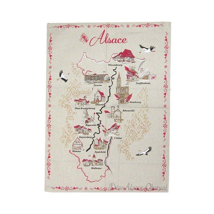 Découvrez Torchon de Cuisine avec Carte des Villes d'Alsace au Magasin La Boite aux Trésors à Obernai