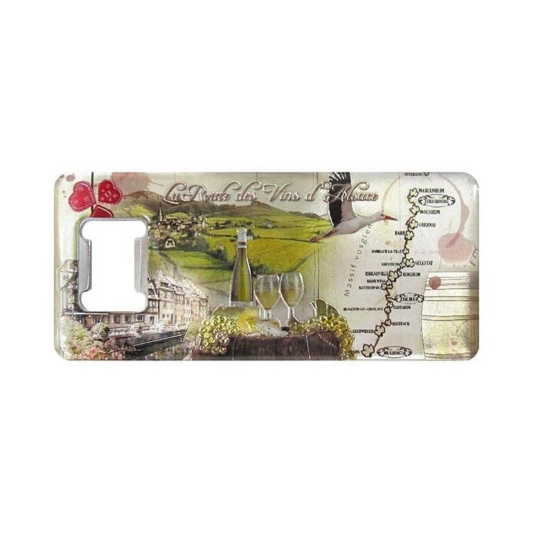 Magnet Décapsuleur en relief La Route des Vins d'Alsace