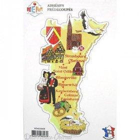 Adhésif prédécoupé Carte d'Alsace La Boite aux Trésors à Obernai