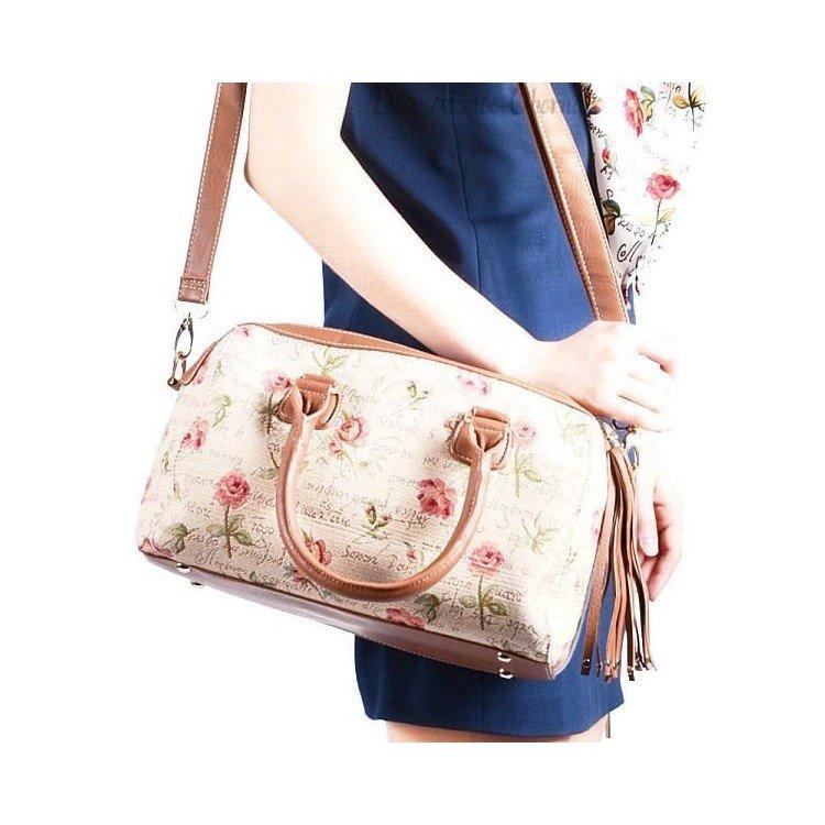 Sac à Main avec Pompon motif Rose en Fleurs en Tapisserie