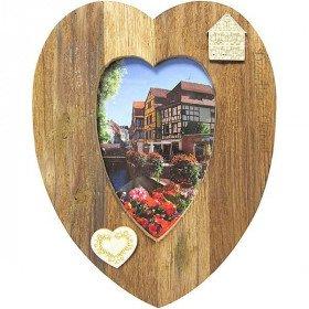 Cadre Photo 10 x 15 cm forme de Coeur en Bois Creusé La Boite aux Trésors à Obernai