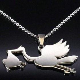 Schmuck Halskette und Anhänger Stork Alsace Edelstahl in La Boite aux Trésors