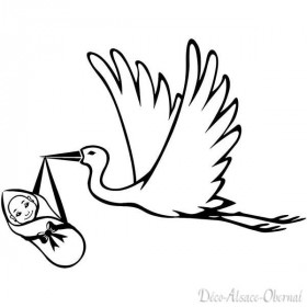 Aufkleber transparent Storch im Flug mit einem Baby in La Boite aux Trésors in