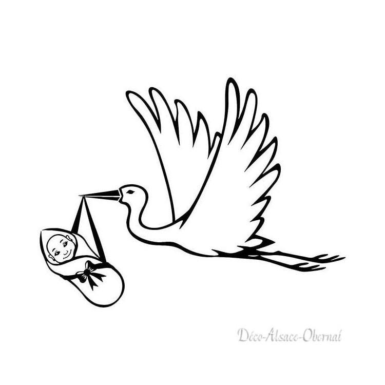 Sticker transparent Cigogne en vol portant un bébé