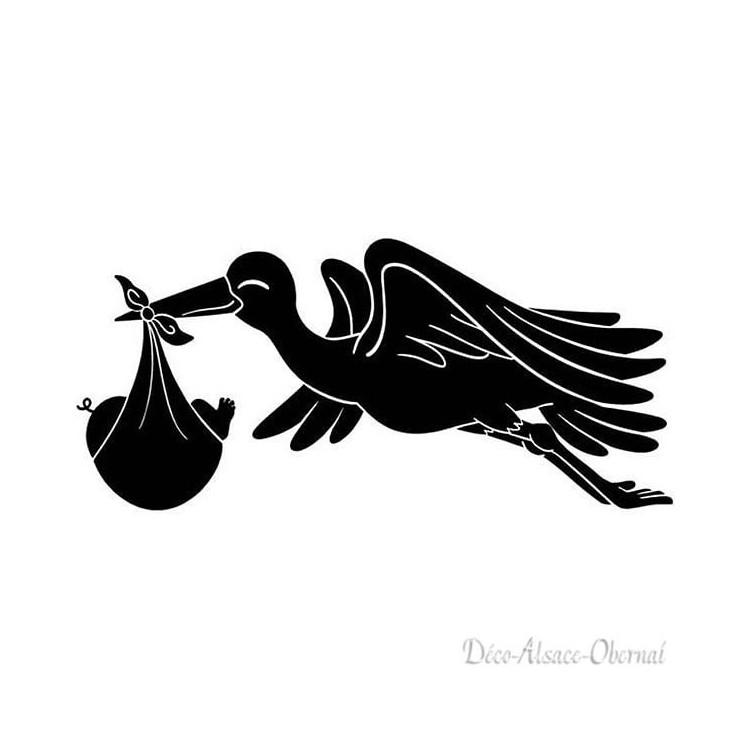 Sticker Cigogne en vol portant un bébé sur fond Noir