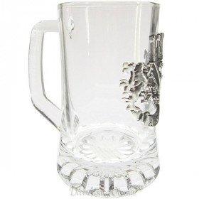 Beer Mug 20 cl with Pewter Plate Alsace La Boite aux Trésors to Obernai