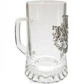 Bierkrug 40 cl mit Platte aus Zinn Elsass in La Boite aux Trésors in Obernai
