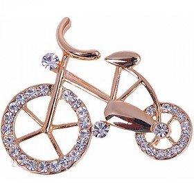 Broche Fantaisie dorée forme de Vélo sertie de Strass à La Boite aux Trésors à Obernai
