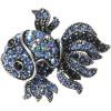 Broche Fantaisie argentée forme Poisson Bleu sertie de Strass