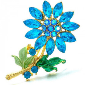 Broche Fantaisie dorée forme Fleurs Bleue sertie de Strass