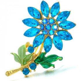 Goldene Brosche geformt Fancy Flowers Blau-Set mit Strass in La Boite aux