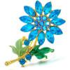 Goldene Brosche geformt Fancy Flowers Blau-Set mit Strass