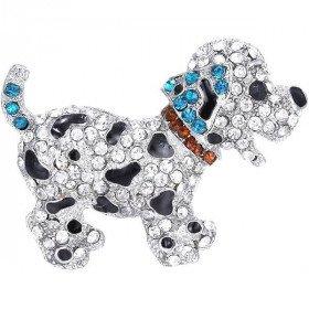 Silber-Brosche geformt Fancy Dog-Set mit Strass in La Boite aux Trésors in