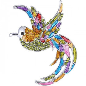 Broche Fantaisie argentée forme Oiseau sertie de Strass