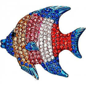 Multi-Color Fish-shaped Silver Fancy Brooch set with Rhinestones