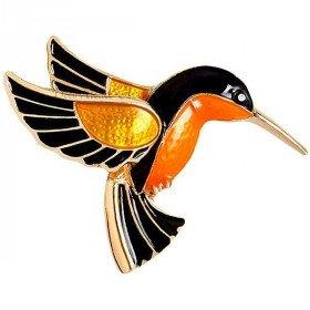 Broche Fantaisie Dorée forme Oiseau Colibri
