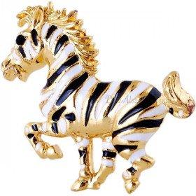 Goldene Brosche geformt Fancy Pferd Black Stripe