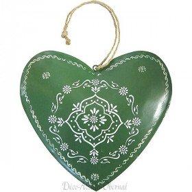 Großes Elsässer Herz in grünem Metall handbemalt