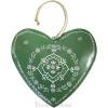 Grand Coeur d'Alsace en Métal Vert  peint à la Main