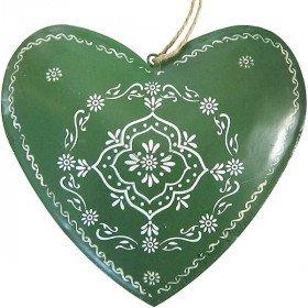 Großes Elsässer Herz in grünem Metall handbemalt in La Boite aux Trésors in