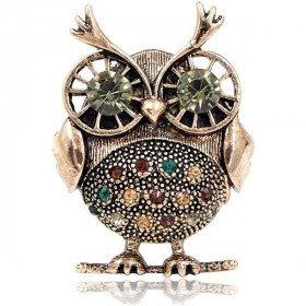 Fancy Owl Brosche Set mit Kupfer Strass