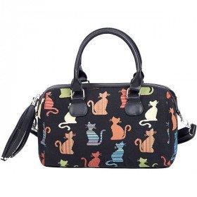 Handtasche mit Pompon Katzen Muster Farbe Tapisserie